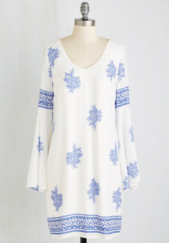 Blue and white swimsuit coverup