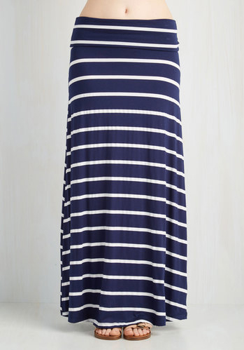 Long Navy Striped Skirt