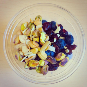 raisins and nuts are a quick healthy after school snack to make