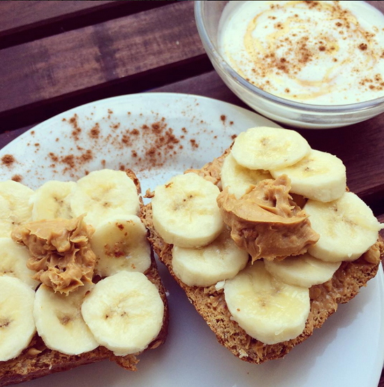 bananas on whole grain bread